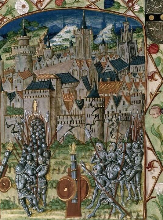 Capture of Evreux. Chroniques de France ou de Saint Denis (from 1108 to 1270). France, N. (Calais?)