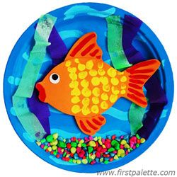 3d goldfish bowl supplies paper plate craft foam for Fish bowl craft