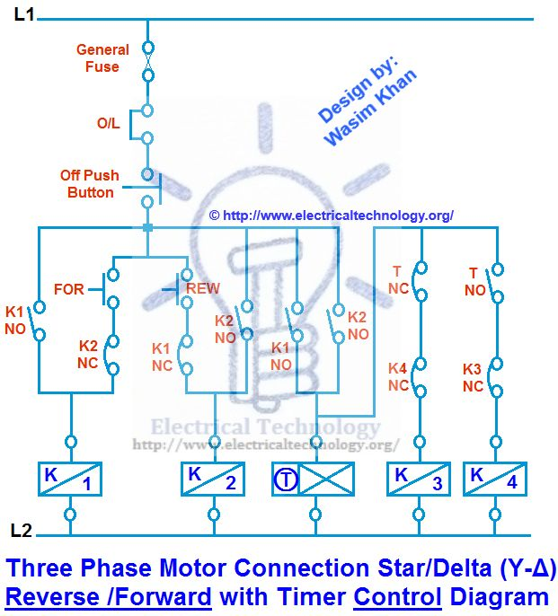 Three Phase Motor Connection Star/Delta (Y-Δ) Reverse / Forward with