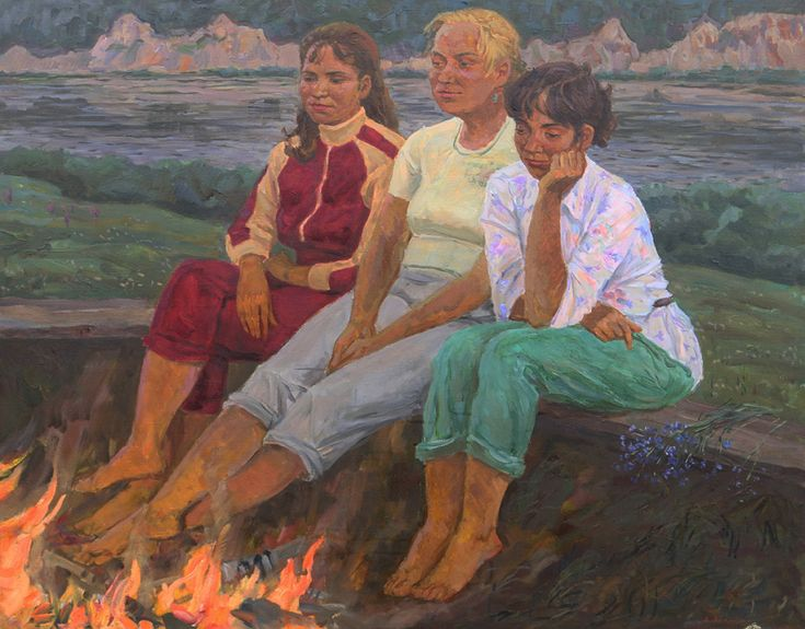 Evening by the fire - Kulagin B.