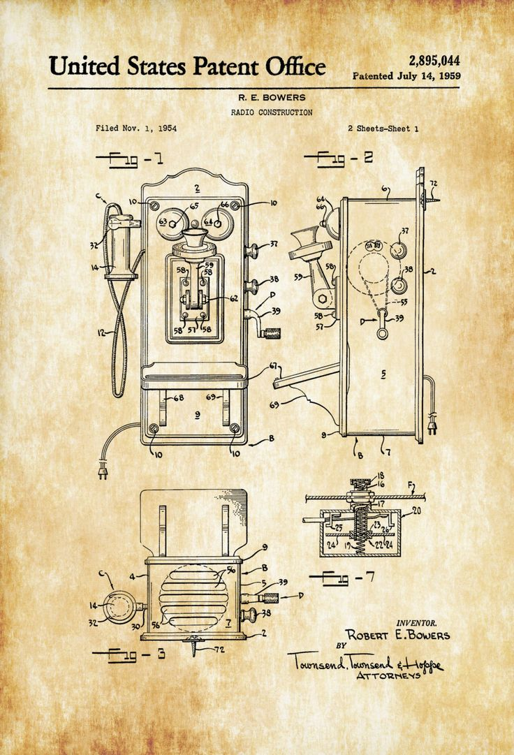A patent print poster of a old fashioned vintage telephone (called Radio Construction in the Patent). This machine was invented by R. E. Bowers. The patent was issued by the United States Patent Office on July 14, 1959. Patent prints allow you to have a piece of history in your Home, Office, Man Cave, Geek ...