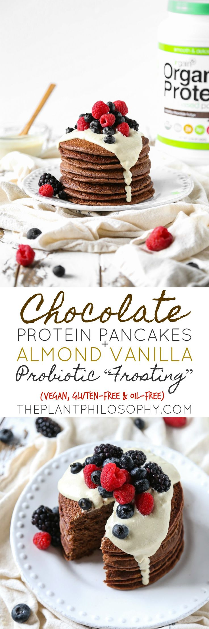 """Gluten-Free Chocolate Protein Pancakes + Almond Vanilla Probiotic """"Frosting""""   Vegan, Oil-Free & Soy-Free   The Plant Philosophy"""
