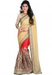 Magnificent Beige Color Party wear  & Designer  Saree