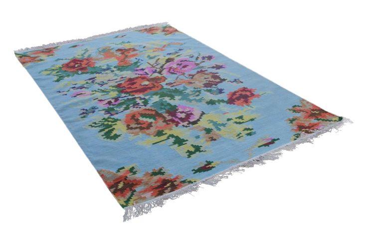 licht blauw rozenkelim   Rozenkelim.nl - Groot assortiment kelim tapijten