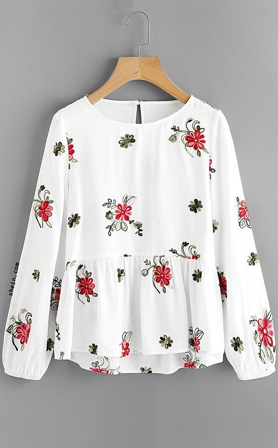 Flower Embroidered Smock Top