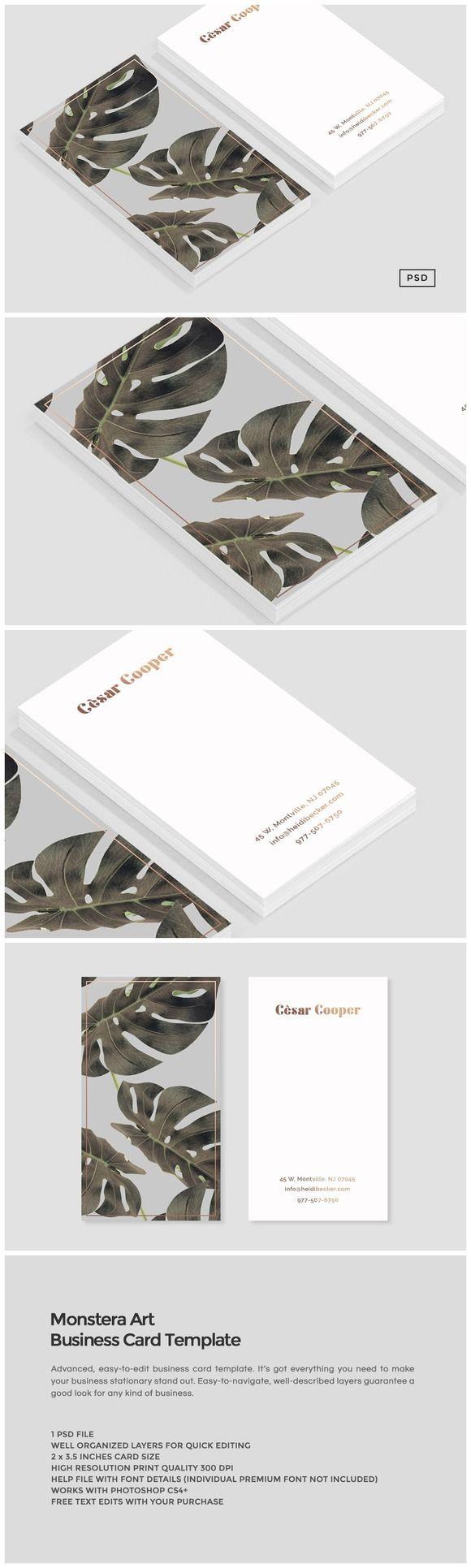 Template de carte de viiste à acheter et personnaliser. Une face photo, et une face avec vos coordonnées - Minimaliste et élégant. Monstera Art Business Card Template by Design Co. on Creative Market