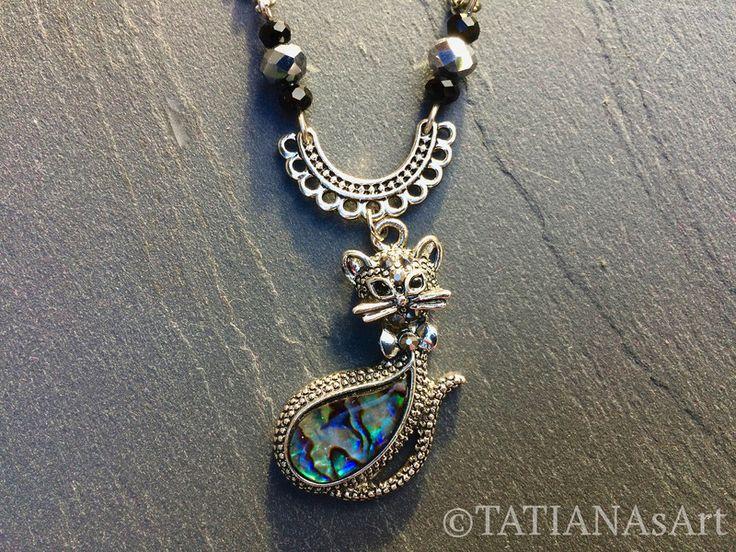 Colliers - #Kette #Anhänger #Katze #Perlmutt #Abalone Muschel - ein Designerstück von TATIANAsArt bei DaWanda