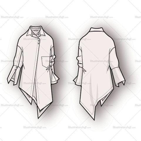 Women's Asymmetrical Hem Blouse Fashion Flat Template