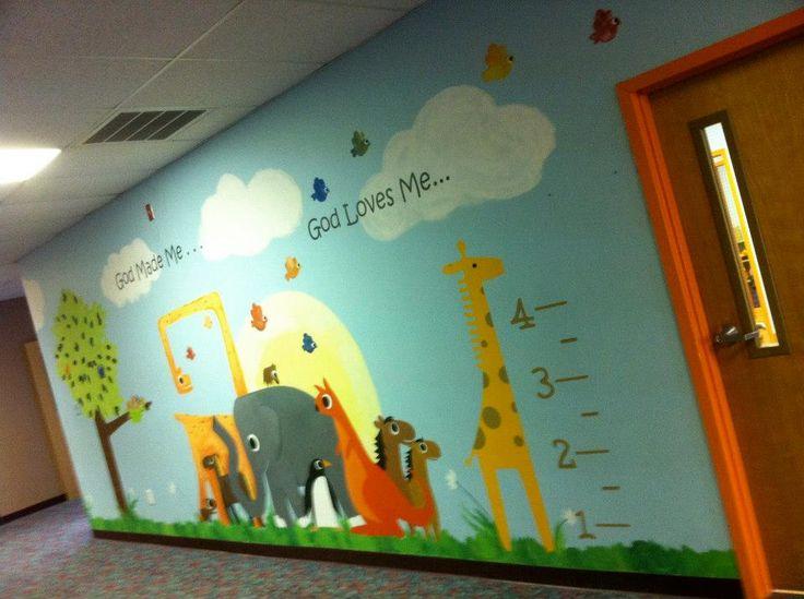 44 best images about preschool decor ideas on pinterest for Church nursery mural ideas