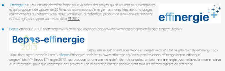 Deux labels de performance énergétique développés par l'association Effinergie