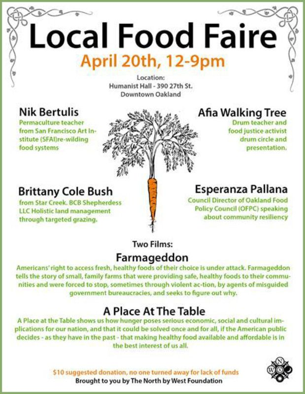 Oakland, CA North By West Foundation Presents A Day Of Education And Food  Focusing On Local Sustainable Food And Living With Keynote Speakers Nik  Bertulis, ...