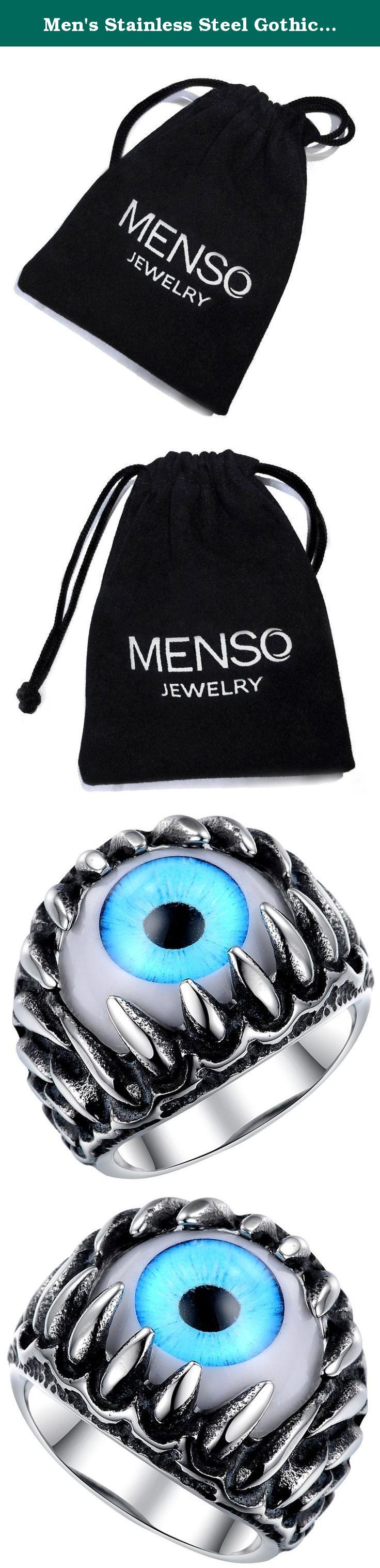 Men's Stainless Steel Gothic Skull Dragon Claw Evil Devil Eye Biker Ring,vintage Blue Silver White Size 10. MENSO - High quality Jewelry Discover the MENSO Collection of jewelry. The selection of high-quality jewelry featured in the MENSO Collection offers Great values at affordable Price, they mainly made of high quality Stainless Steel, Tungsten, Silver and Leather. We uphold the highest standard of integrity,professionalism and customer service. In addition to unique designs,unbeatable...