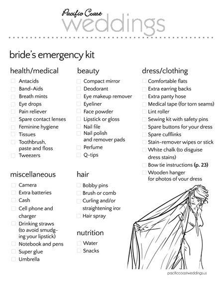 Bride's Emergency Kit | Pacific Coast Weddings
