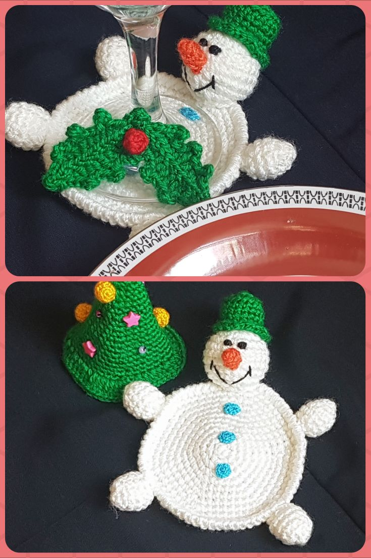 Crochet Christmas Coaster Stocking Stuffer Christmas Table