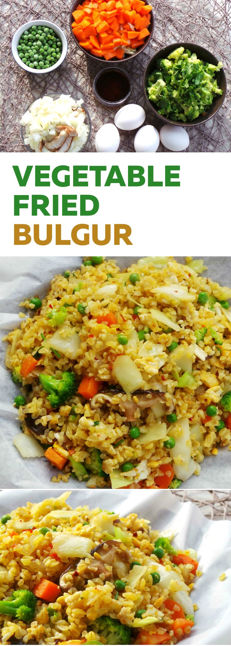 Delicious quick healthy vegetable fried rice recipe - except instead of rice you use bulgur. Cooks faster, is more nutritious and you don't need to make it a day ahead. Not gluten-free as bulgur contains gluten. This recipe is vegetarian and nut-free.