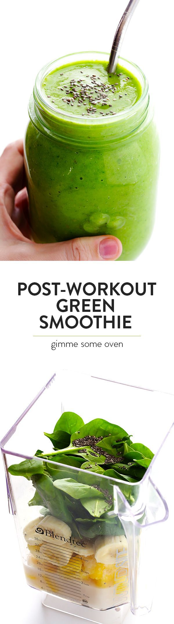 Post-Workout Green Smoothie recipe is chocked full of simple ingredients that will give you a delicious energy boost after a good workout!