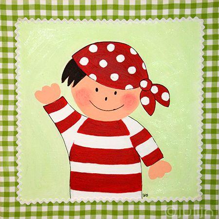 Schilderij Cas op limegroene stof! van Julijn Kinderkamerkunst