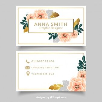 Elegante cartão corporativo com flores e detalhes dourados