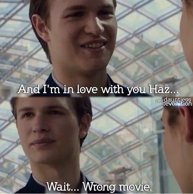 ansel, good luck keeping shailene's character name straight for the divergent series the fault in our stars