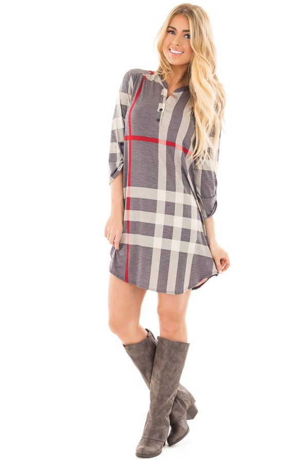 Lime Lush Boutique - Slate Grey Plaid Tunic with Roll Up Sleeves, $32.95 (https://www.limelush.com/slate-grey-plaid-tunic-with-roll-up-sleeves/)