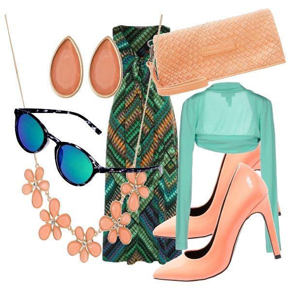 Outfit molto solare per un aperitivo con le amiche. Vestito colorato molto estivo. Parure collana e orecchini, scarpe e borsetta color pesca donano un tocco di allegria. Occhiali color verde-azzurri. Coprispalle verde menta ideale quando comincia a cambiare il tempo verso il tardo pomeriggio.