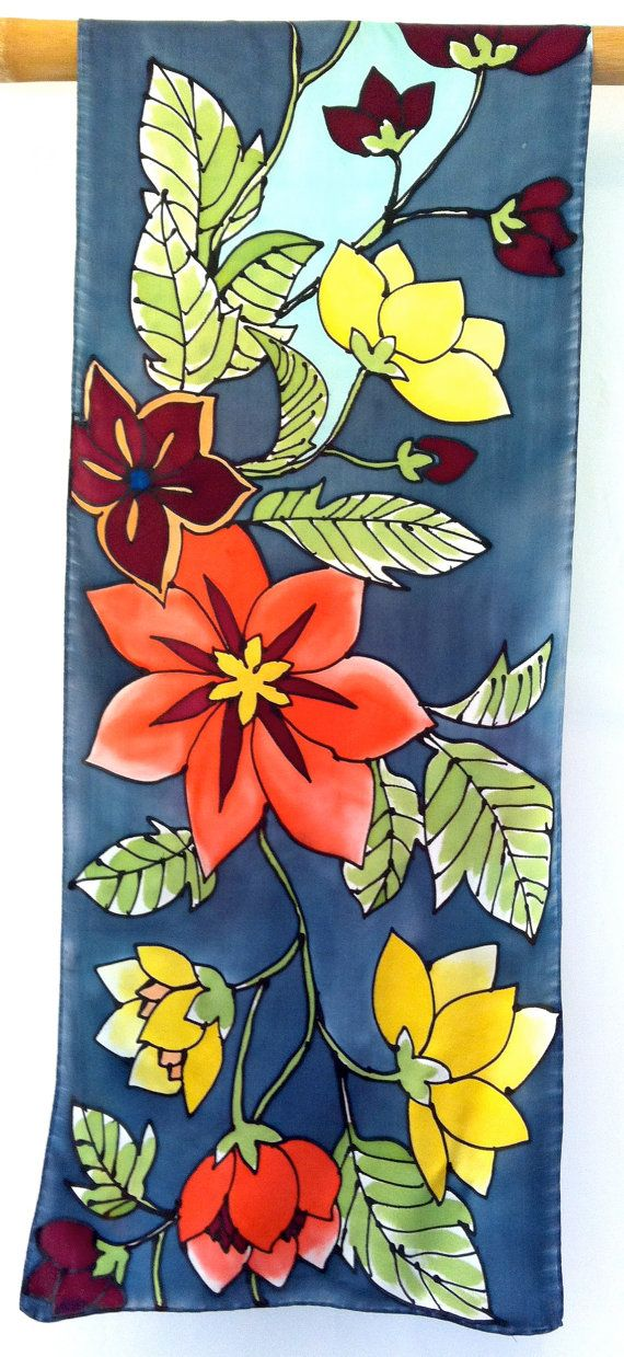 Hand Painted Silk Scarf Floral. Kimono Japanese Silk Scarf. Luxury Silk Satin…