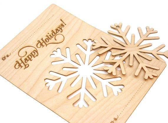 Wood Snowflake Ornament Christmas Card Laser Cut by PPointCreates, $7.00