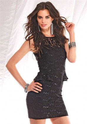Lace dress with sequines, black