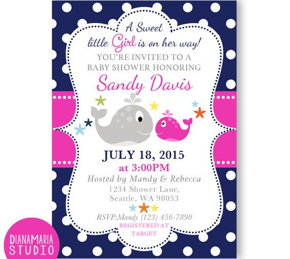 Navy Pink Girl Whale Invitation for Baby Shower, dark blue and hot pink polka nautical whale digital invite