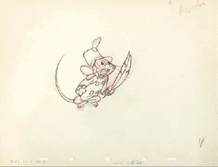 "the-disney-elite: ""  Freddie Moore's pencil animation for Timothy Mouse from Dumbo (1941). """