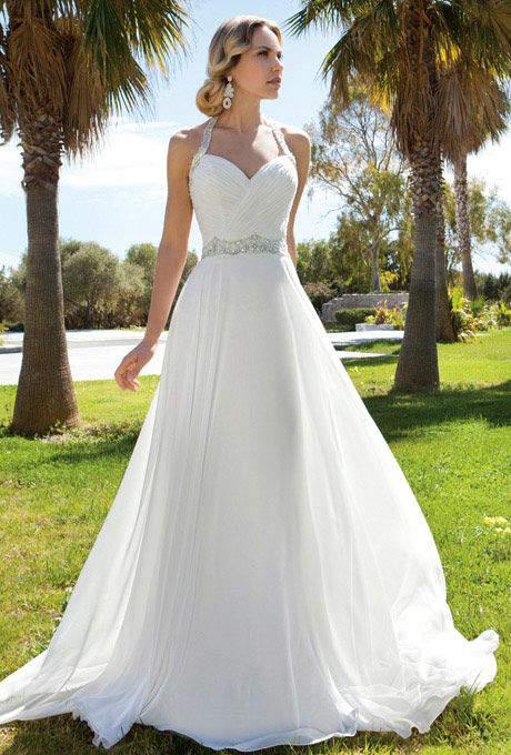 Brides: Demetrios - Destination Romance. Chiffon, A-line halter gown with a sweetheart neckline and ruched bodice. Waist and halter straps are embellished with jeweled beading. Skirt features a chapel train.