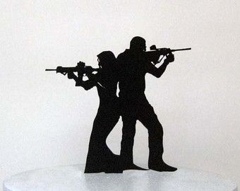 Personalized Wedding Cake Topper  Rifle Gun wedding with Mr