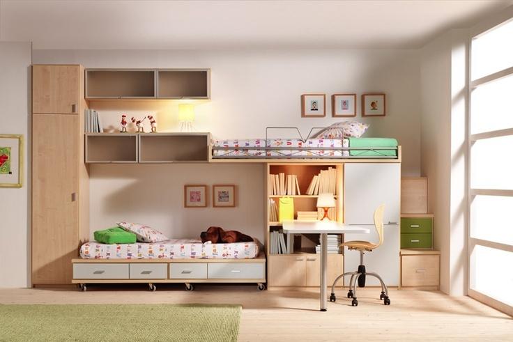 R67 - Cama alta y cama rodante, armario, bilblioteca y mesa de estudio. Estantes de colgar - Facil Mobel, fábrica de muebles a medida en barcelona, catálogo de armarios, juveniles, salones, dormitorios matrimoniales y complementos. Ofertas y solicitud de presupuestos.
