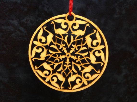 Wood laser cut snowflake by WoodenLaserCuts on Etsy