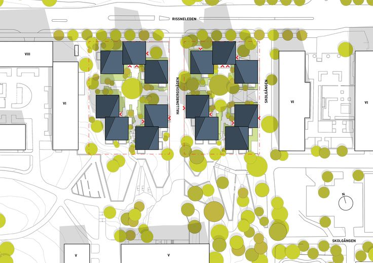 Hallonporten – Planförslaget kommer att få en positiv inverkan på stadsbilden längs Rissneleden. Byggnadernas varierade höjd, färg och förskjutningar bryter tydligt av mot områdets monotoni.