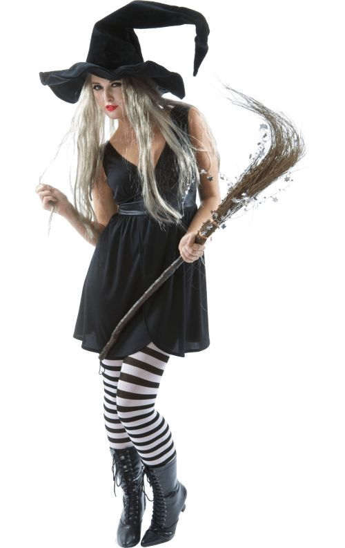 Witch fancy dress outfit includes dress, hat, wig and tights. https://www.simplyfancydress.co.uk/witch-outfit-and-wig~75495/