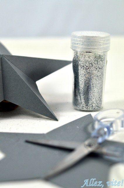 Silvester Sterne basteln selber machen plastisch Glitzer DIY