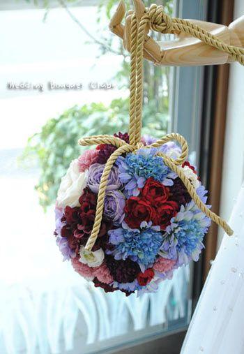 ブルー・水色・青・紫・パープルのブーケ特集 | ウェディングブーケ倶楽部 SKB145:ボールブーケ