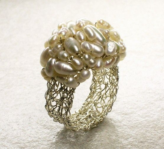 Crochet Sterling Silver Wire Ring with Freshwater ❤ by vivart70