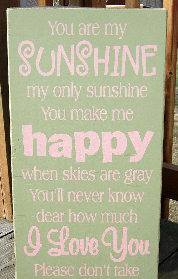 Large Wood Sign You Are My Sunshine by BedlamCountryCrafts on Etsy, $55.00