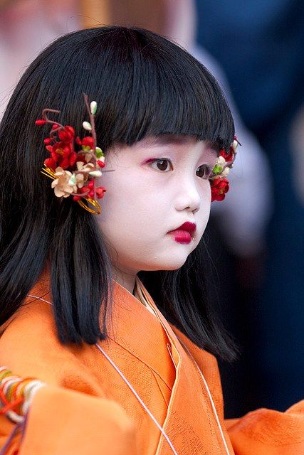 Japanese girl in traditional dress.