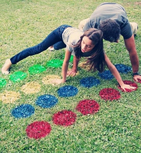 Twister is just so much more fun when you play it outside