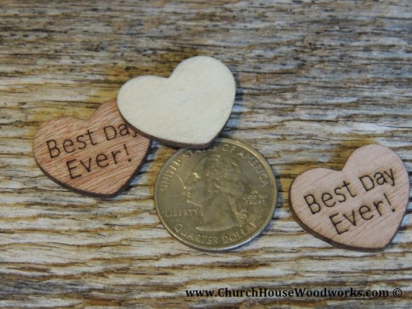 Best Day Ever Wood Burned Hearts for Rustic Weddings