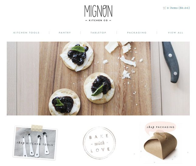 Mignon Kitchen Co web design inspiration