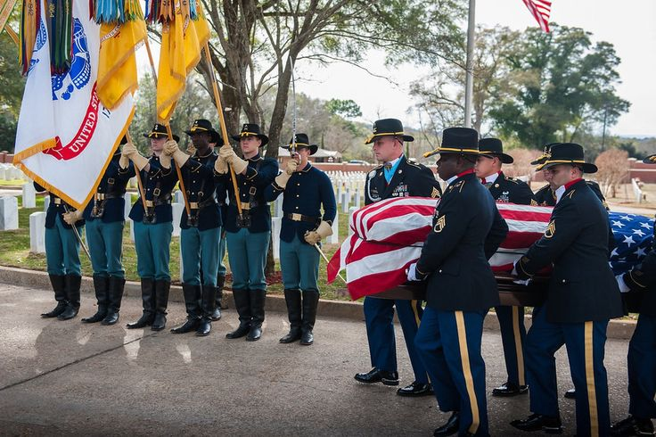 """Remembering Lt. Gen. Hal Moore: FORT BENNING, Ga.) U.S. Army Soldiers from 1st Cavalry Division, Fort Hood, Tx. preside as the official honor platoon at retired U.S. Army Lt. Gen. Harold Gregory """"Hal"""" Moore Jr.'s, Graveside Service, Feb. 17, 2017 at the Fort Benning Main Post Cemetery."""