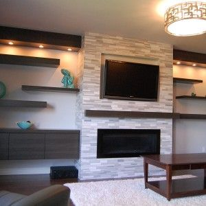 Fabulous Flat Tv Mounted On Ceramic Wall Over The