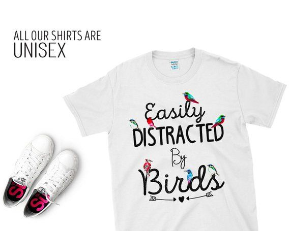 Easily Distracted By Birds T Shirt Watercolor Birds Best Art T