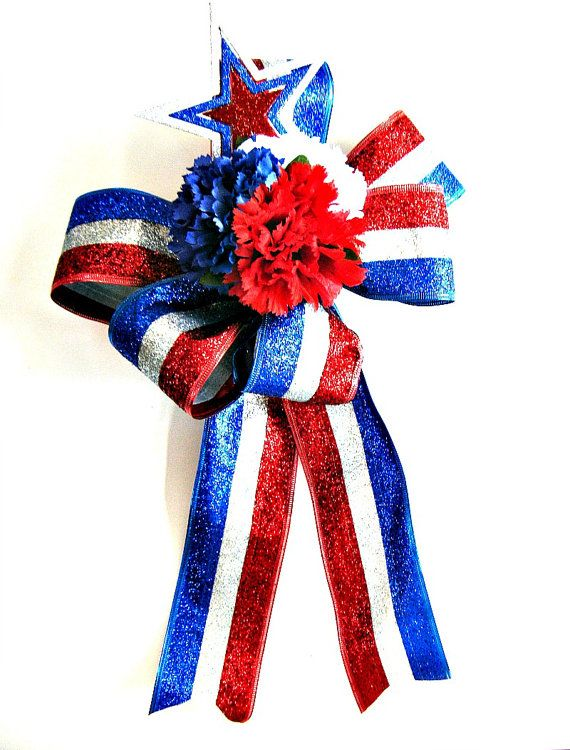 Large Patriotic Holiday bow Memorial Day decoration by jandavis2, $14.00