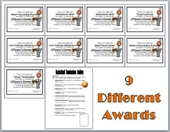 Sports awards bundle certificates ballots eight diffe basketball pinterest sports for Athletic award ideas
