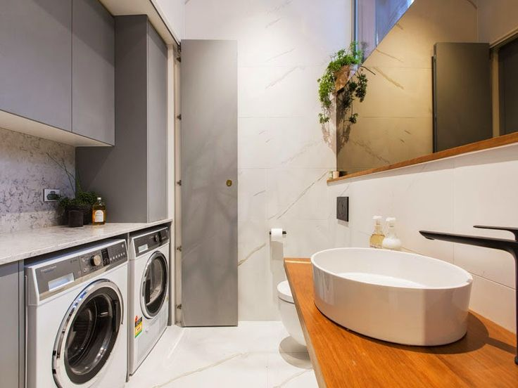 Laundry inspiration stone grey white and timber - Michael and Carlene's Block Apartment